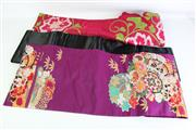 Sale 8923 - Lot 23 - Silk Obis (3) in Crimson with chrysanthemums design, purple with flowers, fans, plums and leaves design and a plain black satin