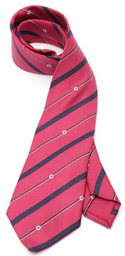 Sale 9080F - Lot 58 - AN HERMES SILK TIE IN BOX; deep cerise with navy and white stripes.