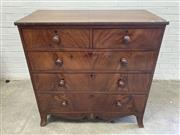 Sale 9085 - Lot 1012 - Regency Flame Mahogany Chest of Five Drawers, with shaped apron & splayed legs - has shrinkage cracks (h:108 x w:107 x d:58cm)