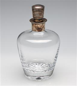 Sale 9253 - Lot 16 - A glass Christofle decanter with silver plated stopper and collar (H:21.5cm)