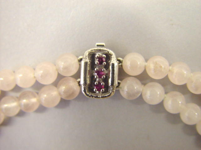 Sale 3545 - Lot 50 - A TWO ROW ROSE QUARTZ BEAD NECKLACE;