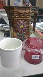 Sale 7950 - Lot 69 - Lustre Ware Jug, Cranberry Glass Jar and Royalty Mug