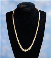 Sale 8577 - Lot 180 - A vintage faux pearl single strand necklace with diamante clasp, L 43cm, Condition: Very Good