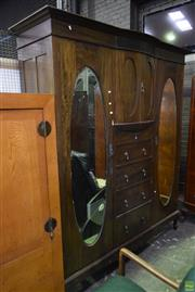 Sale 8566 - Lot 1764 - Timber Twin Oval Mirrored Door Wardrobe with Four Drawers