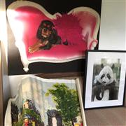 Sale 8774A - Lot 363 - Sundries artworks including Parisian street scene, Panda and spaniel on couch