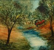 Sale 8791 - Lot 527 - Kevin Charles (Pro) Hart (1928 - 2006) - Crossing the Creek 24.5 x 25cm