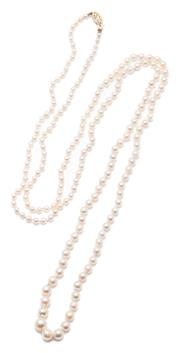 Sale 9020 - Lot 386 - A VINTAGE OPERA LENGTH GRADUATED PEARL NECKLACE; 3 - 8mm round cultured pearls of fine colour and lustre to a 14ct gold clasp, lengt...