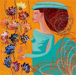 Sale 9150 - Lot 509 - CONSTANTINE POPOV (1965 - ) - Woman with Flowers 92 x 92 cm