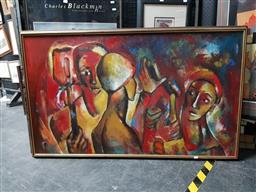 Sale 9127 - Lot 2035 - Artist Unknown Workers Meeting, oil on canvas, frame: 87 x 143 cm, signed lower right -