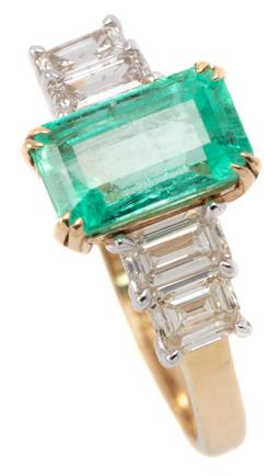 Sale 9149 - Lot 441 - AN 18CT GOLD EMERALD AND DIAMOND RING; centring an emerald cut emerald of approx. 1.92ct between shoulders each set with 2 emerald c...