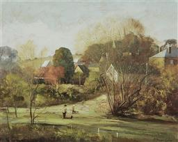 Sale 9170 - Lot 567 - STUART MCKENZIE CULLEN (1933 - ) Country Houses in Autumn oil on board 39.5 x 49.5 cm (frame: 54 x 65 x 4 cm) signed lower right