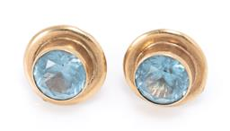 Sale 9177 - Lot 305 - A PAIR OF 9CT GOLD GEMSET STUD EARRINGS; each collet set with a round cut synthetic blue spinel, width 12mm, wt. 3.34g.