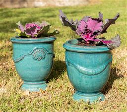 Sale 9191W - Lot 494 - A pair of Anduze style glazed planters With Kale H. with plant 25cm