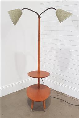 Sale 9188 - Lot 1008 - Twin shade snake neck floor lamp side tiered table with brass fittings (h:180 l:64 w:37cm)