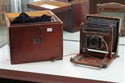 Sale 8014 - Lot 30 - Vintage Timber Belows Camera with Case, Plates, Brass (lenses in office).