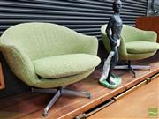 Sale 8493 - Lot 1022 - Pair of Retro Swivel Tub Chairs on Chrome Base