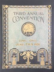 Sale 8539M - Lot 39 - 'The International Brotherhood of Magicians', Souvenir Program for Third Annual Convention, Lima Ohio, June 1928. Decorative cover i.