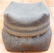Sale 8550H - Lot 18 - An Indonesian woven basket with stylised floral design, Height 28cm