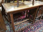 Sale 8774 - Lot 1071 - French Oak Side Table, with pegged top, on square chamfered legs with stretchers