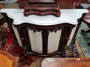 Sale 8774 - Lot 1027 - Good Victorian Rosewood Credenza, with white serpentine shaped marble top, above a pair of glass panel doors with cream pleated fabr...