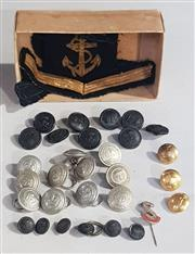 Sale 8976N - Lot 316 - Collection of Vintage Uniform Buttons incl. Military and Postal with Sailor Pinifore Stripes