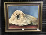 Sale 8990 - Lot 2022 - Artist Unknown The Princely Pekingese oil on canvas on board, 38 x 48cm (frame) -