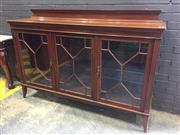 Sale 9014 - Lot 1045 - Edwardian Mahogany Display Cabinet, by Maple & Co, London & Paris, with low dentil back, three astragal doors, enclosing glass shelv...