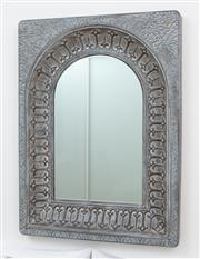 Sale 9070H - Lot 180 - An arched tin repousse mirror with transfer print, Height 121cm x Width 91cm