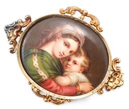 Sale 9149 - Lot 398 - AN ANTIQUE ENAMELLED PORTRAIT BROOCH; oval plaque with hand painted portrait of mother and child in decorative 9ct gold frame (resto...