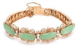 Sale 9177 - Lot 371 - AN 18CT GOLD JADE AND STONE SET BRACELET; set across the top with 4 jadeite jade plaques (17.6 x 6.6mm) to bow style surrounds and u...