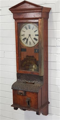 Sale 9188 - Lot 1030 - Vintage National Time Recorders co bundy clock with enamel dial and oak case - key in office (h:125 x w:45 x d:37cm)