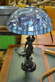 Sale 8129 - Lot 1018 - Bronze Style Figural Leadlight Shade Table Lamp