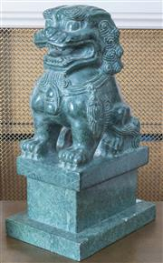 Sale 8800 - Lot 123 - A Chinese hardstone carved dog of Fo on base, H 32cm, parliamentary gift