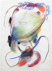 Sale 8410A - Lot 5021 - Anne Hall (1945 - ) - Untitled (Model with Green Face) 76.5 x 56cm (sheet size)
