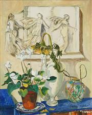 Sale 8459 - Lot 552 - Erik Jerken (1898 - 1947) - Still Life with Cyclamen, 1972 79.5 x 63.5cm