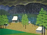 Sale 8492 - Lot 529 - Maxwell Joseph (Max) Watters (1936 -) - House and Sheds, Parkville, c1970 82 x 111cm