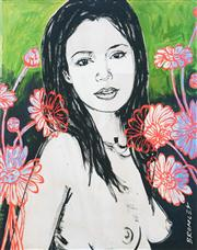 Sale 8549A - Lot 5012 - David Bromley (1960 - ) - Mallory with Flowers 36 x 28.5cm (frame size: 49.5 x 40cm)