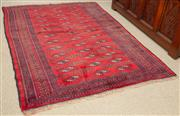 Sale 8550H - Lot 195 - A fine Persian rug on deep red ground with repeating geometric motif, 147 x 100cm