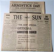 Sale 8639 - Lot 71 - Two Souvenir Newspapers of The End of the War - (1) a Facsimile of The Sun Newspaper of November 11 1918 printed in 1968 and (2)  Re...