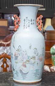 Sale 8746 - Lot 1005 - A late Ching porcelain vase with a fishing scene and calligraphy inscription (cracked)