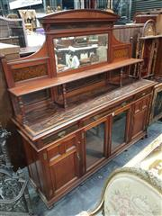 Sale 8774 - Lot 1002 - Good Victorian Aesthetic Walnut Sideboard by Gillows & Co of Lancaster, the shaped mirror back with shelf, fabric panels & coromande...