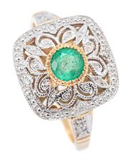 Sale 9083 - Lot 403 - A DECO STYLE EMERALD AND DIAMOND RING; 13.7mm cushion shape top millegrain set with a round cut emerald to a pierced surround and sh...