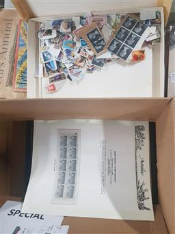Sale 9152 - Lot 2355 - 4 Empty Stamp Albums & Loose Pages with Box of Loose Leaf Stamps