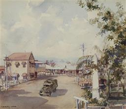 Sale 9170 - Lot 572 - CLIFFORD DUDLEY WOOD (1905 - 1980) Main St. Dalby, Queensland watercolour 31 x 36 cm (frame: 59 x 62 x 3 cm) signed lower left