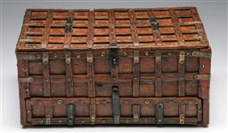 Sale 9175 - Lot 239 - An Indonesian Teak and Brass Bound Chest with Fold Down Door Revealing Three Drawers (H:17cm W:37cm D:26cm)