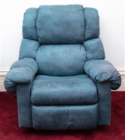 Sale 9190H - Lot 305 - A suede effect green recliner, Height of back 102cm x Width 102cm
