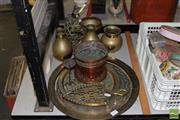 Sale 8217 - Lot 200 - Brass Tray & Smaller Example With Other Brass Wares inc Double Handled Goblet