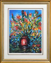 Sale 8295 - Lot 8 - Kevin Charles (Pro) Hart (1928 - 2006) - Flowers in the Red Vase 54.5 x 71.5cm (frame size: 105 x 86cm)