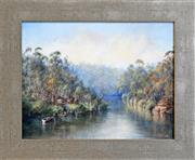 Sale 8325A - Lot 146 - P. Howes (XX) - Travelling down the River 34.5 x 44.5cm