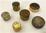 Sale 8436A - Lot 38 - A group of pill boxes with coin insert lids including English, French and Tunisian.